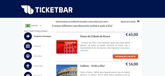 Ticketbar para ingressos em Roma e na Itália