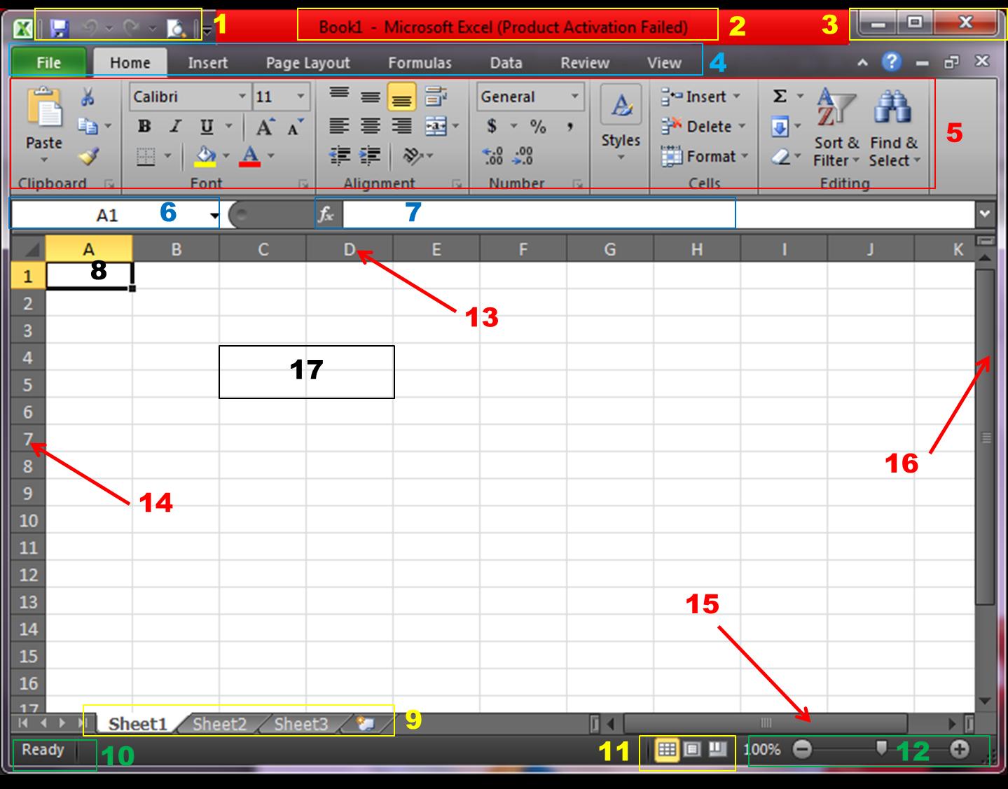 Ink Alitalya Bagian Bagian Lembar Kerja Ms Excel