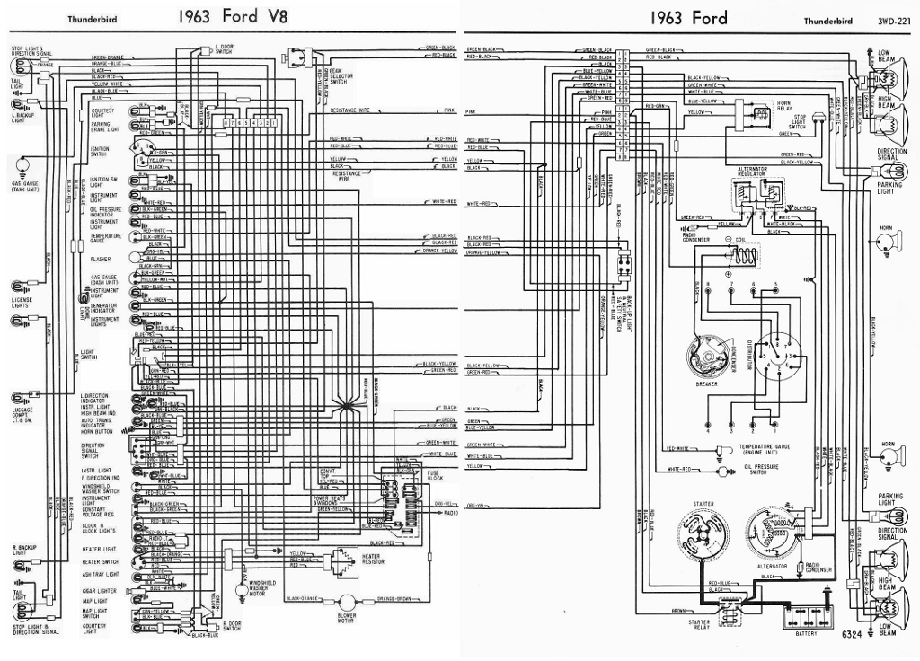 Ford V8 Thunderbird 1963 Complete Wiring Diagram | All