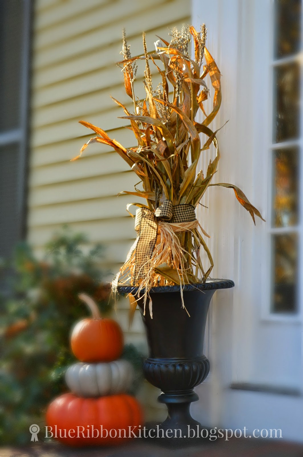 Blue Ribbon Kitchen Recycling Corn Stalks For A Harvest Door