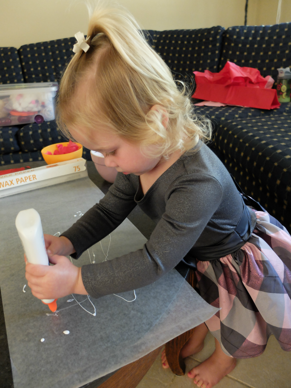 Sending and receiving Valentine's cards, making 'stained-glass' toddler art