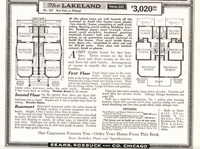 B&W image of Sears Lakeland from 1918 Sears Modern Homes catalog