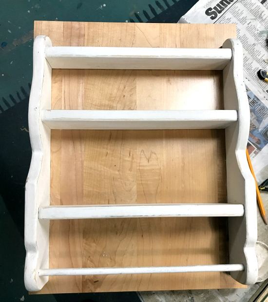 Attaching a shelf to a cabinet door