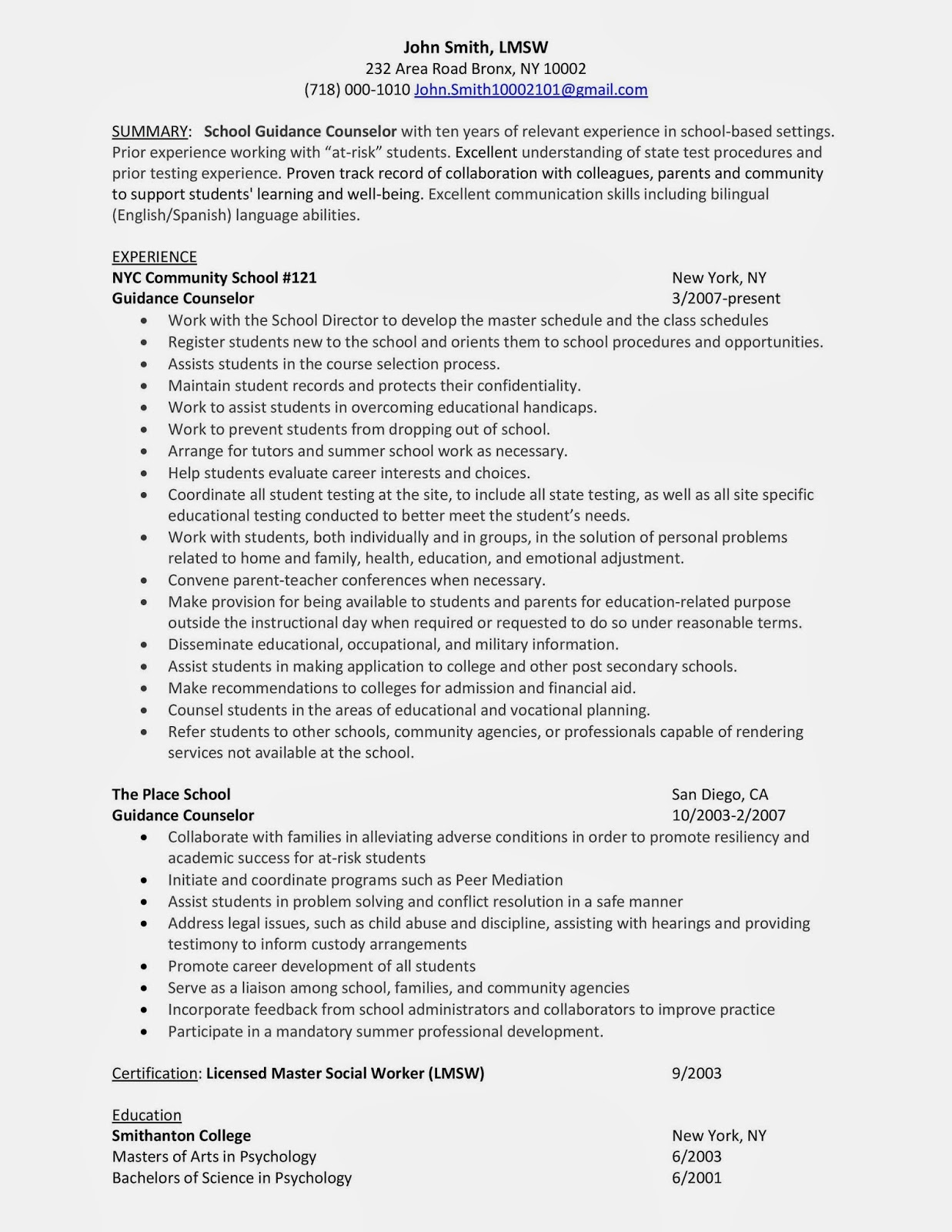 LCJS School Guidance Counselor Sample Resume
