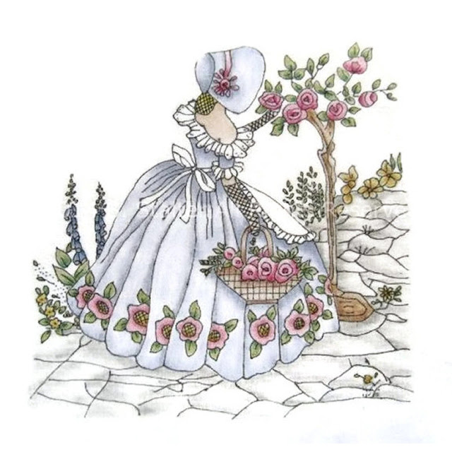 Southern Belle Hand Painted Fabric Block
