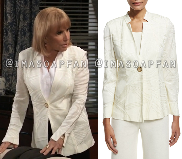 Monica Quartermaine, Leslie Charleson, Cream Tonal Ribbon Print Jacket, General Hospital, GH