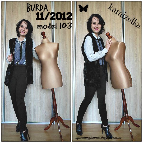 Kamizelka z imitacji futra uszyta z wykroju Burda 11/2012 model 103