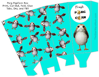 Porg Party DIY Popcorn box template by The Star Wars Mom