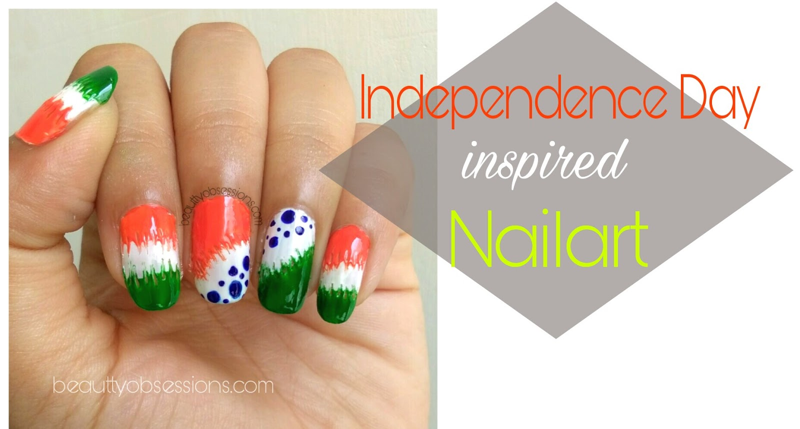 Indian Independence Day Inspired Nailart Step By Tutorial No Tool