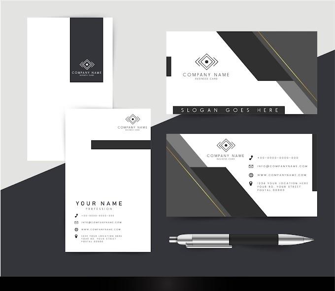 Corporate cards template elegant dark bright modern design Free vector