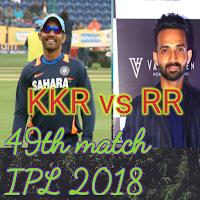 IPL 2018 Cricket, Live score RR vs KKR