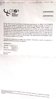 CRG, Barcelona: job and threats after they have interrupted a work contract, page 2, in Spanish, español de Bruna Vives