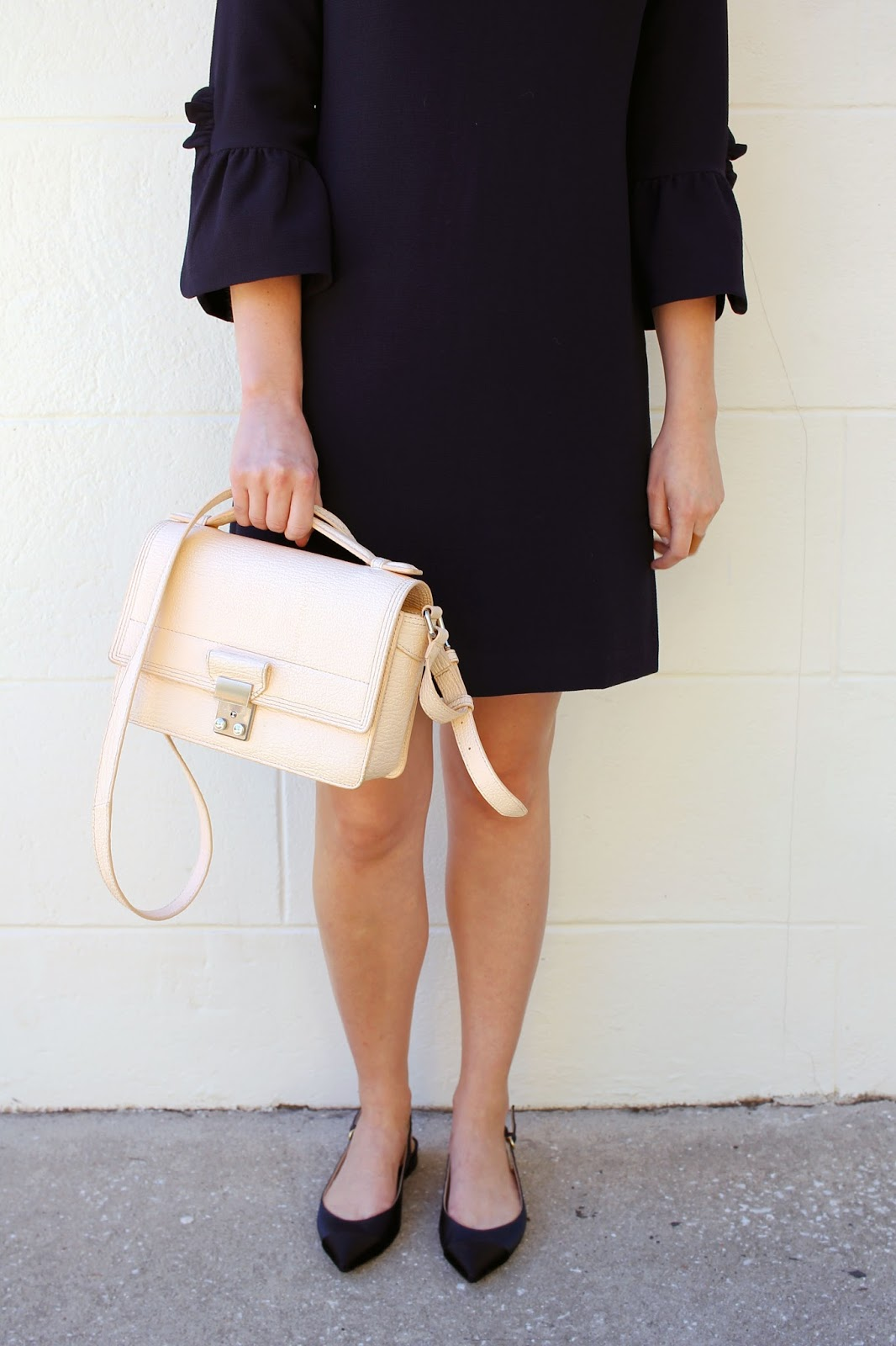 Club Monaco Bell Sleeve Dress & J.Crew Slingbacks