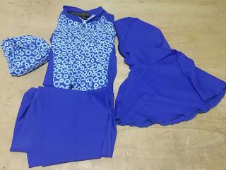 pakaian renang anak wanita set lengkap: baju, celana, topi, jilbab