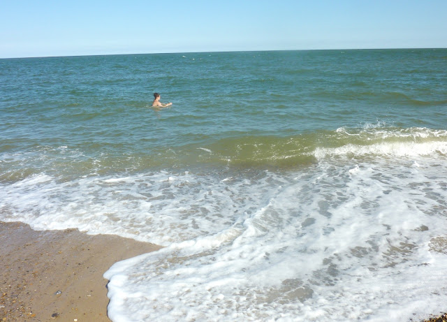 Swimmer in sea at Great Yarmouth