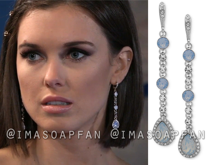 Willow Tait, Katelyn MacMullen, Blue Stone and Crystal Linear Drop Earrings, Jewelry, Nurses Ball, General Hospital, GH