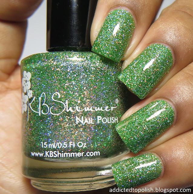 kbshimmer smells like green spirit spring 2016 mega flame green holo glitter