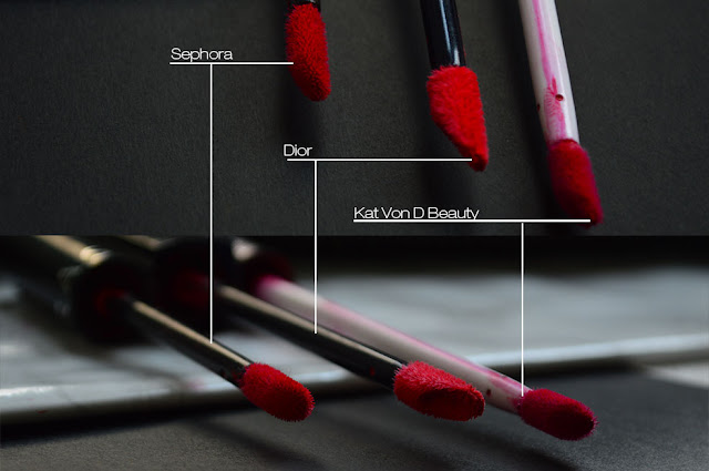 Immagine di comparazione tra applicatori del Cream Lipstain Sephora, Rouge Dior Liquid e Everlasting Liquid Liqpstick di Dior