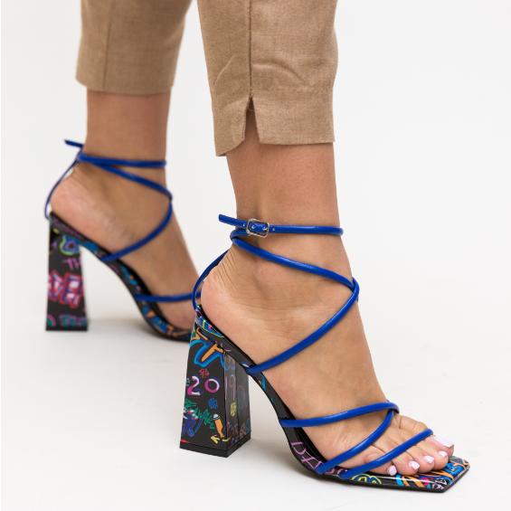 Sandale albastre fashion moderne cu imprimeu si snur