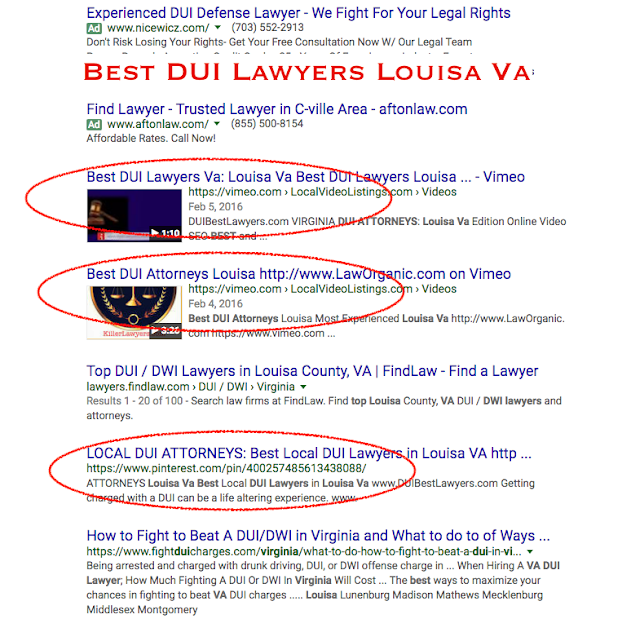 "See how much these 3 videos stand out among the other listing results on this search for ""Best DUI Lawyers Louisa""...Introducing 'Video SWAP', the fastest, most effective, and most profitable way, to get your business on the Front Page of Google!  See these Videos and how much they stand out among the other results? Well, we've taken Online Marketing a step further....Video SWAP is literally like T.V Commercials, except on the Front Page of Google."