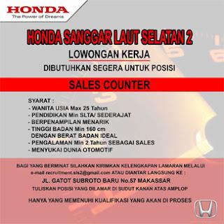 Lowongan Kerja Sales Counter di Honda Sanggar Laut Selatan 2