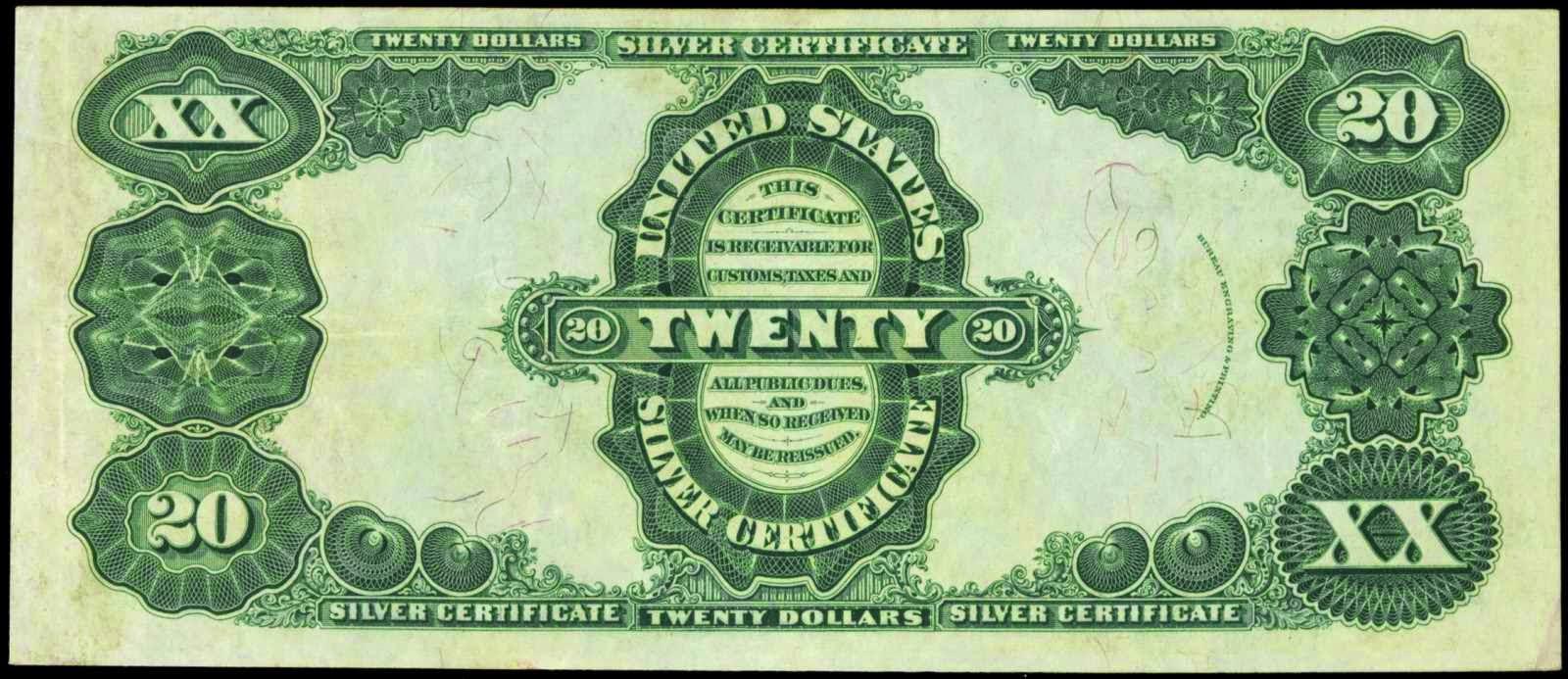 American money 20 Dollars Silver Certificate 1891