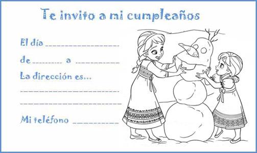 Manualidades con mis hijas: Invitaciones de cumpleaños para colorear