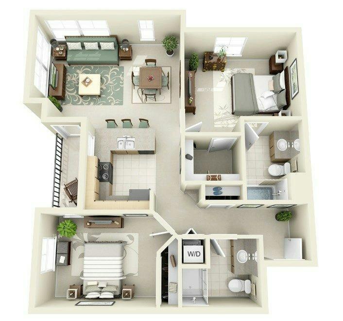 10 Contoh Denah Rumah Minimalis 3 Dimensi 2 Kamar Tidur Gambar