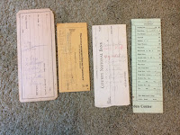 Recipes scrawled on old checks and scratch paper