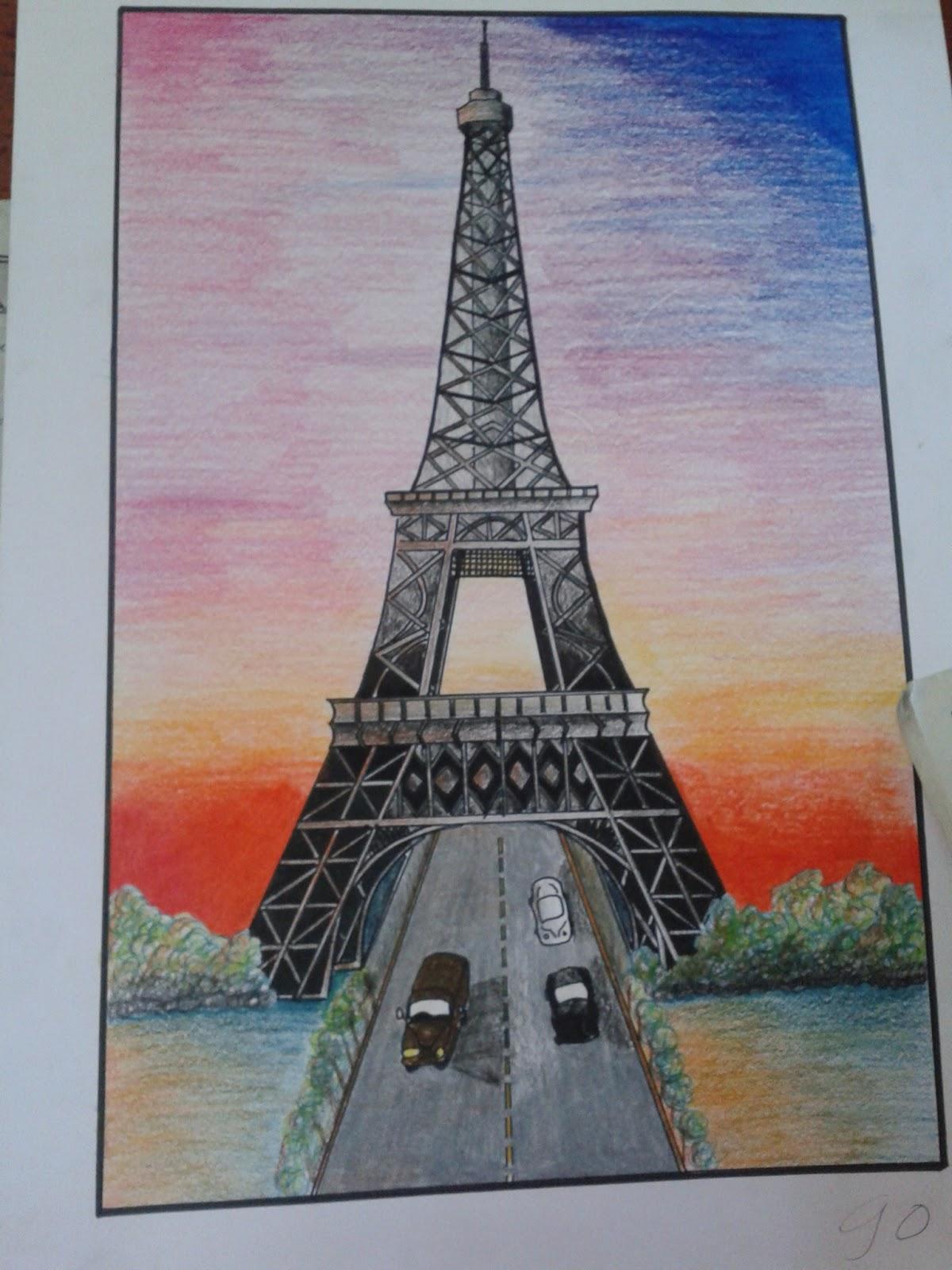 Gambar Sketsa Pemandangan Menara Eifel