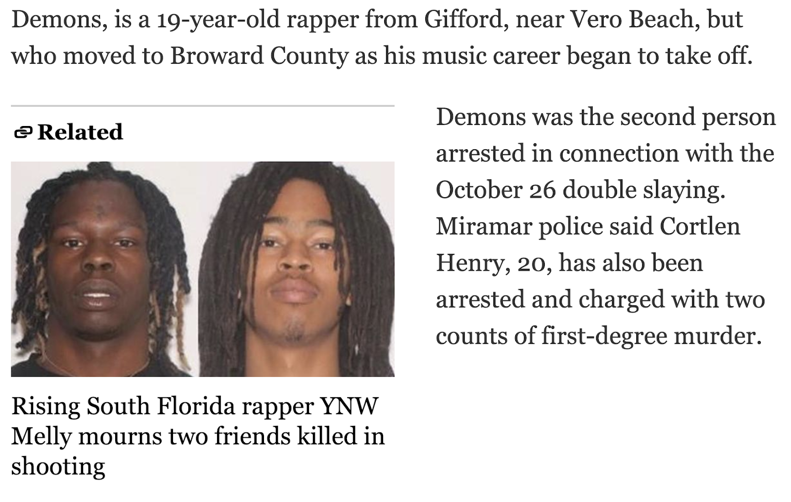 44 74 187 193 213 | YNW Melly, Florida rapper, charged with