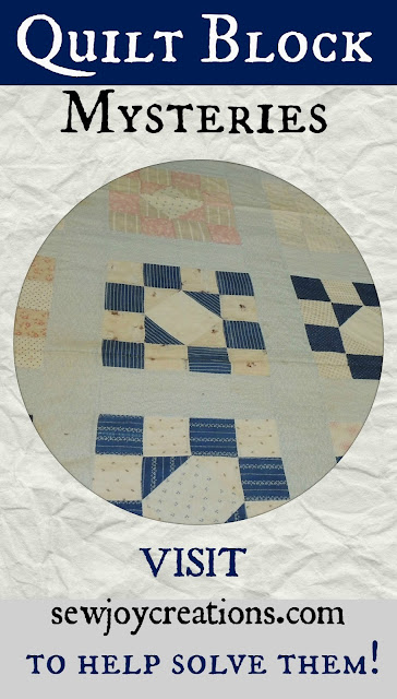visit sewjoycreations.com help solve quilt block mysteries
