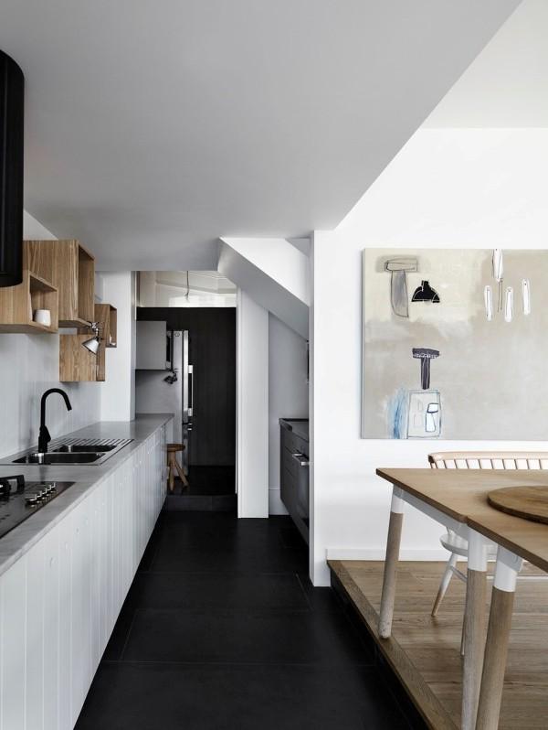cocina blanca sin muebles en la parte superior chicanddeco