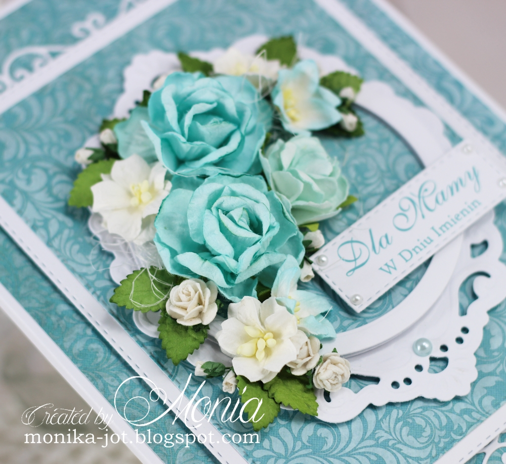 Wild orchid crafts name day card to decorate this card i used big and smaller blue roses added some small lilies white apple blossoms white roses and rosebuds as a base of my flower izmirmasajfo