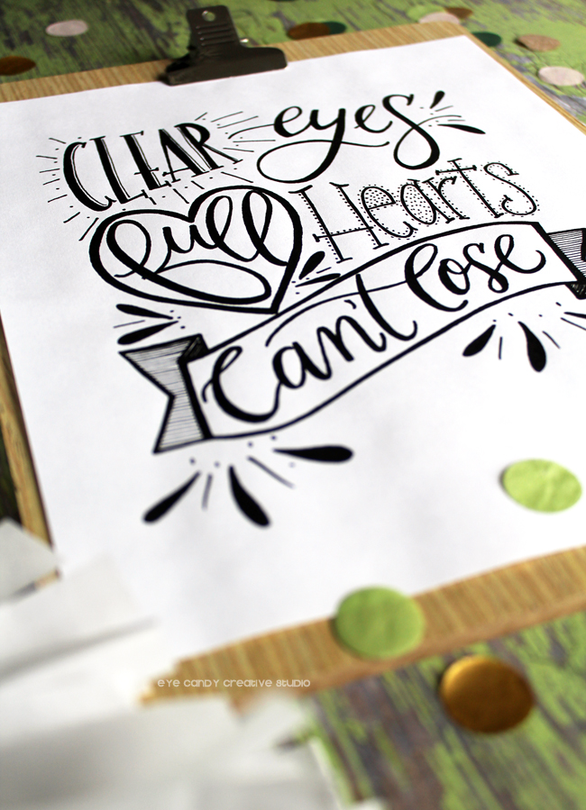 hand lettered, lettering, pen and ink, football inspiration, football art print