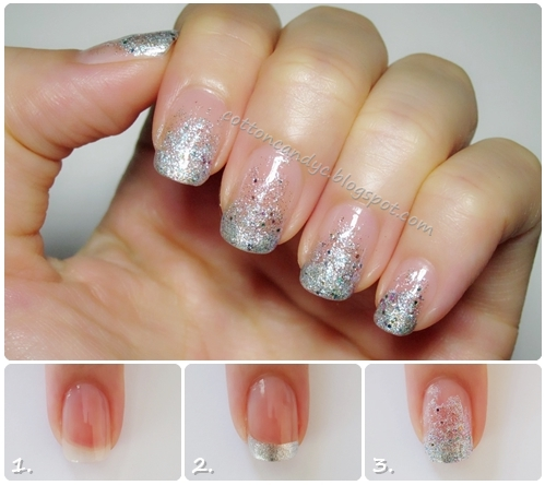 cotton candy blog easy french glitter gradient nails no