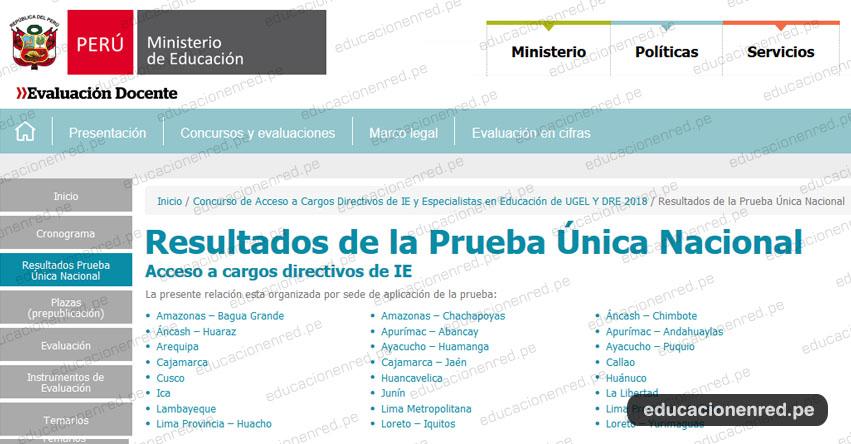 MINEDU: Resultados Examen Acceso a Cargos Directivos - Directores IE y Especialistas de UGEL y DRE 2018 (Miércoles 22 Agosto) www.minedu.gob.pe