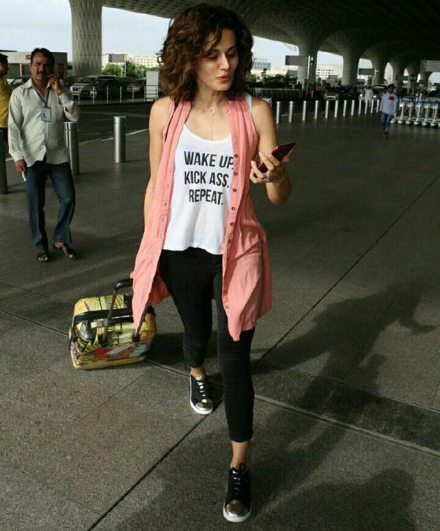 Taapsee Pannu Photos In Pink Top At Mumbai Airport