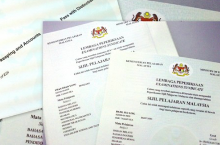 SPM and PMR certificate