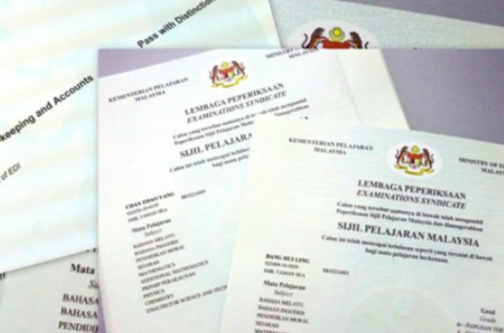 SPM and PMR certificate