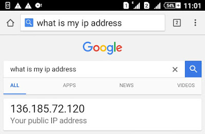 Find Android IP Address using Google