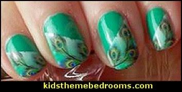nail design - nail stickers - nail polish -  peacock nail design ideas - nail decorating ideas - peacock water decal stickers - peacock colors - peacock theme