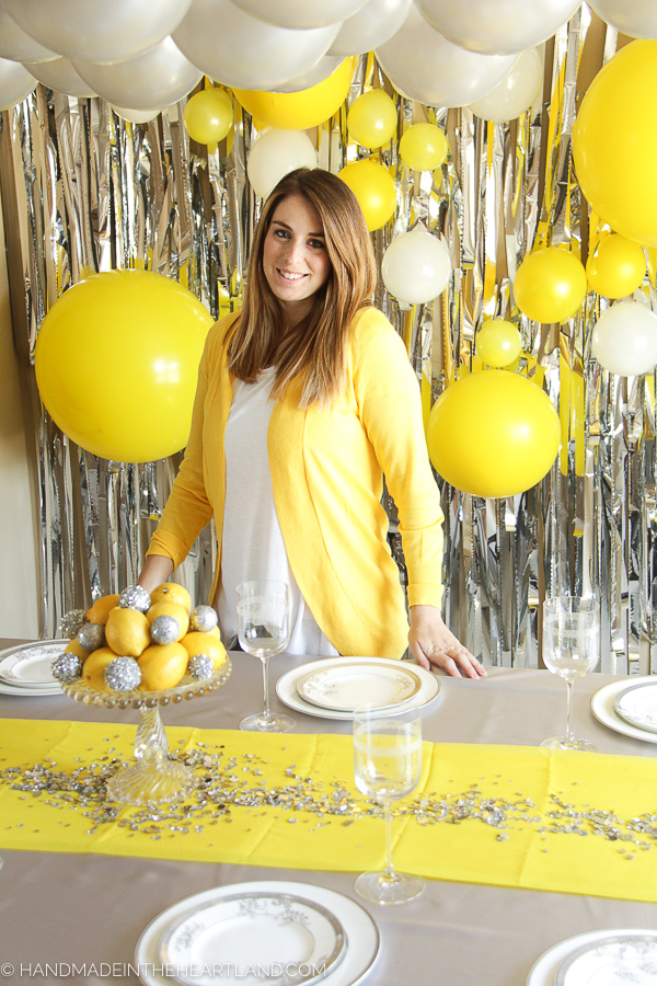 Gray and yellow  new year's party decor