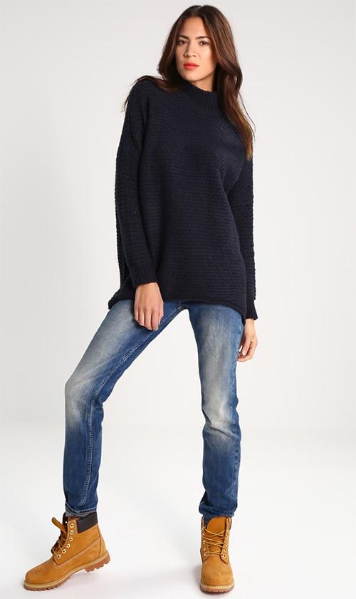 Pullover femme col cheminée bleu marine Selected Femme