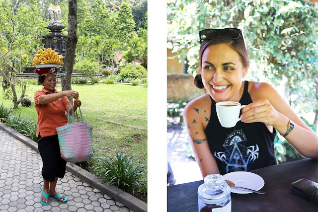 Balinese woman and coffee tasting in Bali
