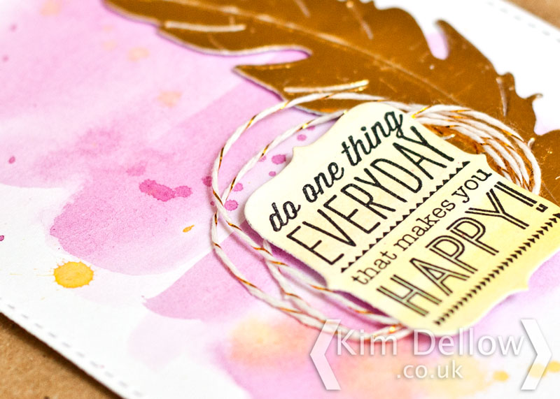 Close up of watercolour effects on a greeting card