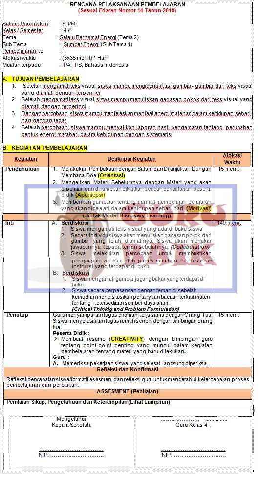 gambar contoh RPP 1 lembar kelas 4 tema 2
