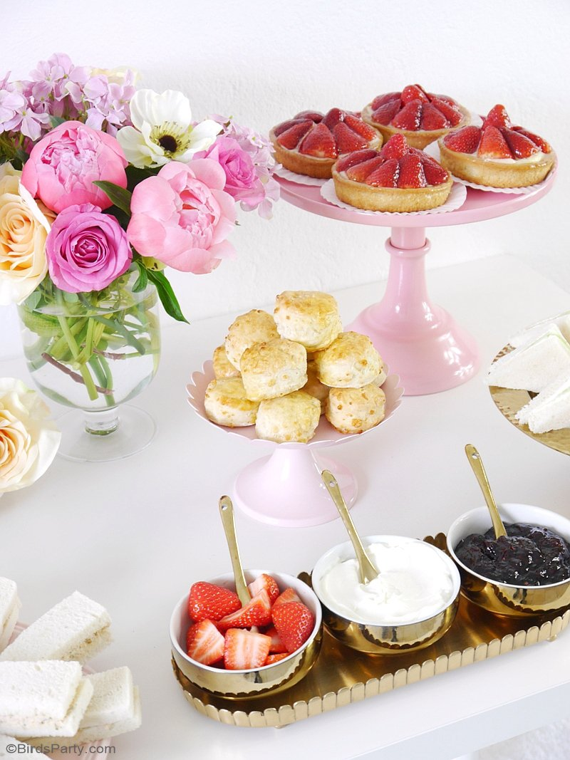 Styling a Pretty Royal High Tea Party - easy DIY decor, food and favor ideas to celebrate the royal wedding, mother's day or a bridal shower! by BirdsParty.com @birdsparty #royalwedding #teaparty #hightea #highteaparty #teapartyideas #britishparty
