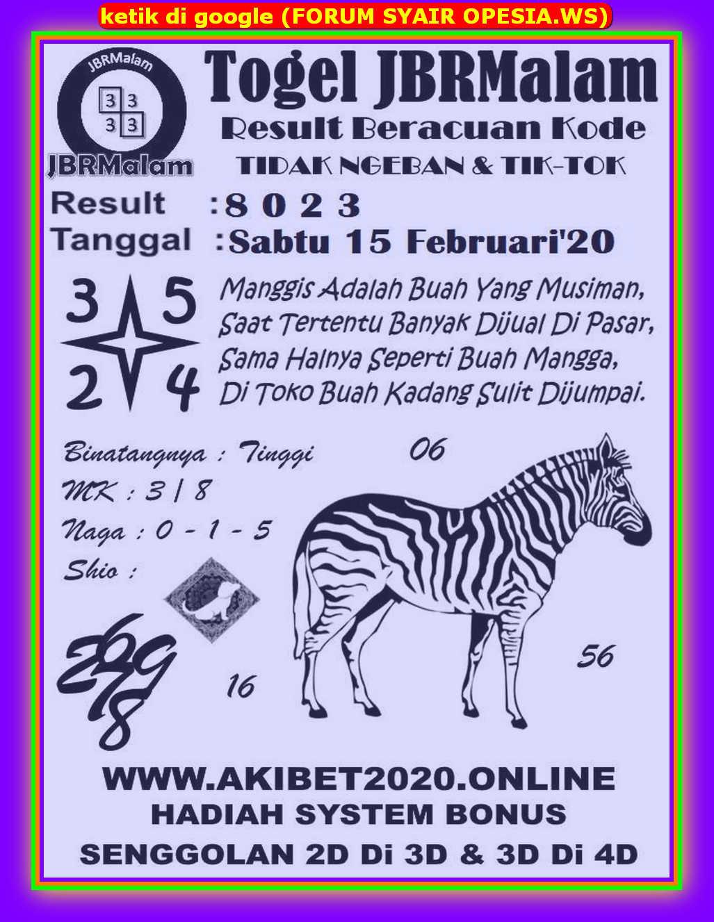 Kode syair Singapore Sabtu 15 Februari 2020 91