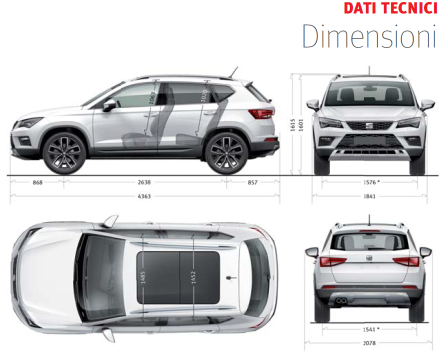 Seat  Ateca 2016-2017 Dimensioni e Misure bagagliaio